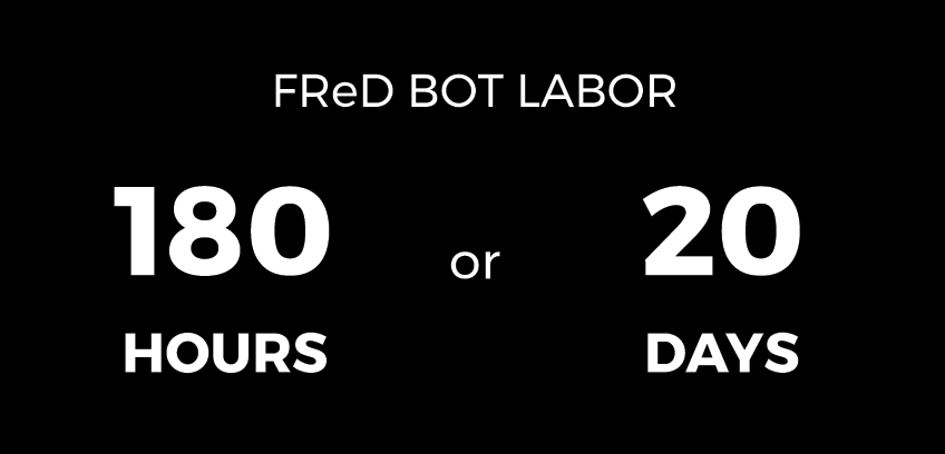 FReD Bot Labor 180 hours or 20 days