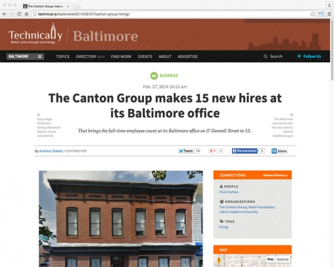 The Canton Group Makes 15 New Hires at its Baltimore Office (from Technical.ly/Baltimore)